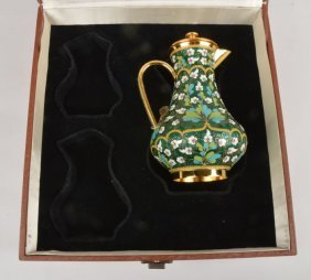 A Soviet Russian silver coloured gilt and enamel b