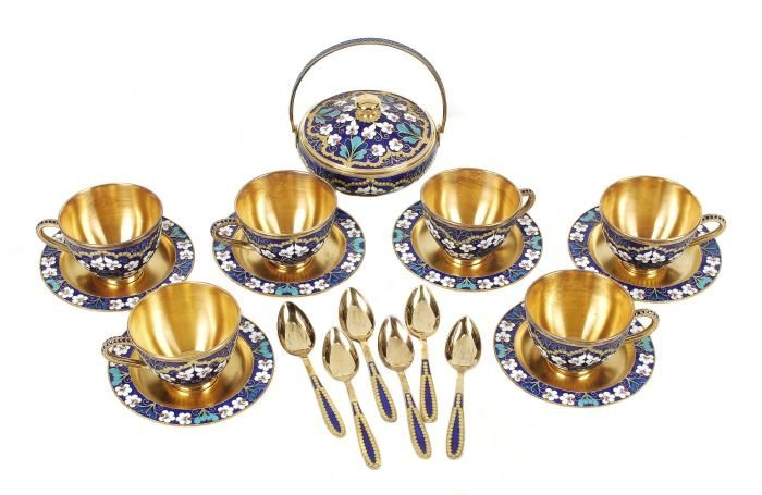 A Soviet Russian silver coloured gilt and enamel c