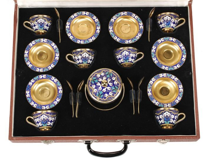 A Soviet Russian silver coloured gilt and enamel c - 2