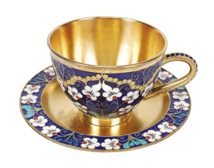A Soviet Russian silver coloured gilt and enamel c - 3