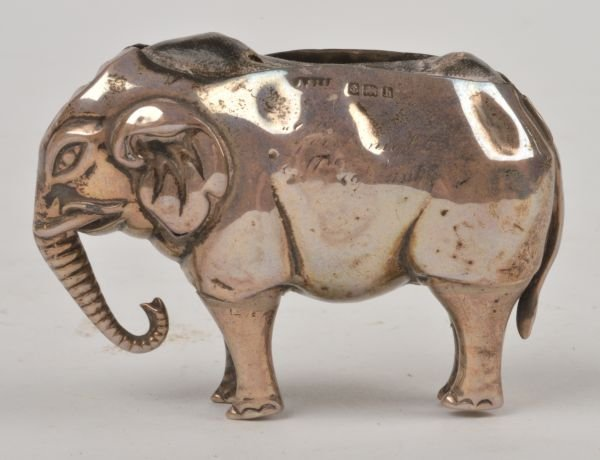An Edwardian silver novelty elephant pin cushion b