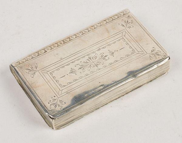 An 18th century silver book snuff box, maker's mar