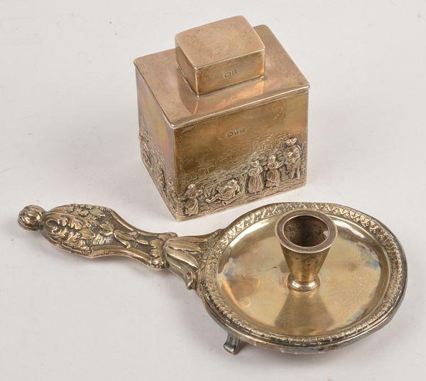 An Edwardian silver tea caddy by George Nathan  Ri