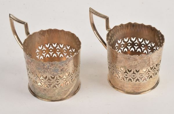 A pair of Edwardian silver tea glass holders by Wi