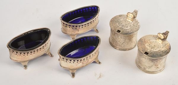 Three Victorian silver oval salts by Nathan  Hayes