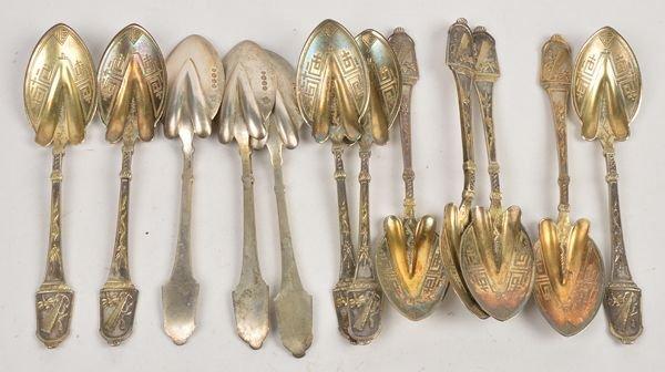 Twelve Victorian silver melon spoons by John, Edwa