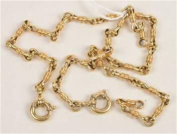 A chain and bracelet set, of swivel like links, th
