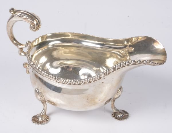 A silver oval sauce boat by S. Blanckensee   Sons