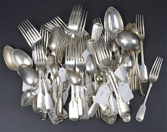 A collection of silver fiddle pattern flatware, to