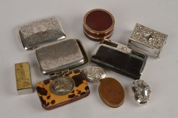 A collection of silver and other boxes and cases,