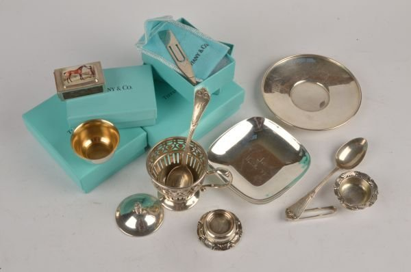 A small quantity of silver coloured items by Tiffa