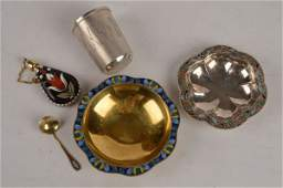 A Soviet Russian silver coloured gilt and enamel s
