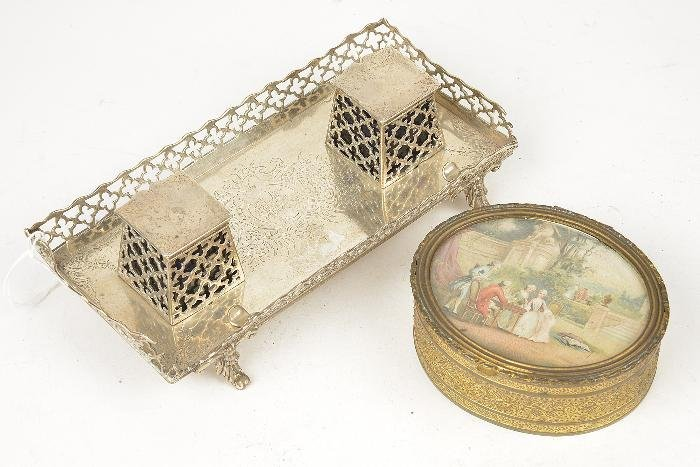 A Victorian silver inkstand by Charles Thomas Fox