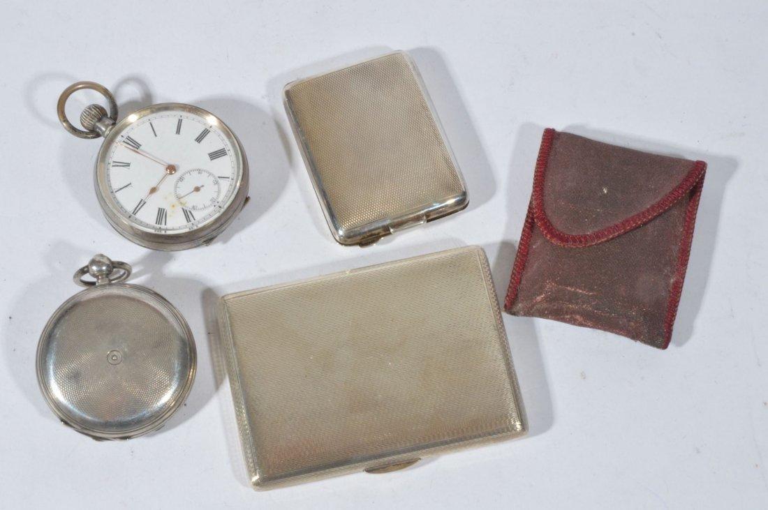 A silver Hunter pocket-watch, key wound, white ena