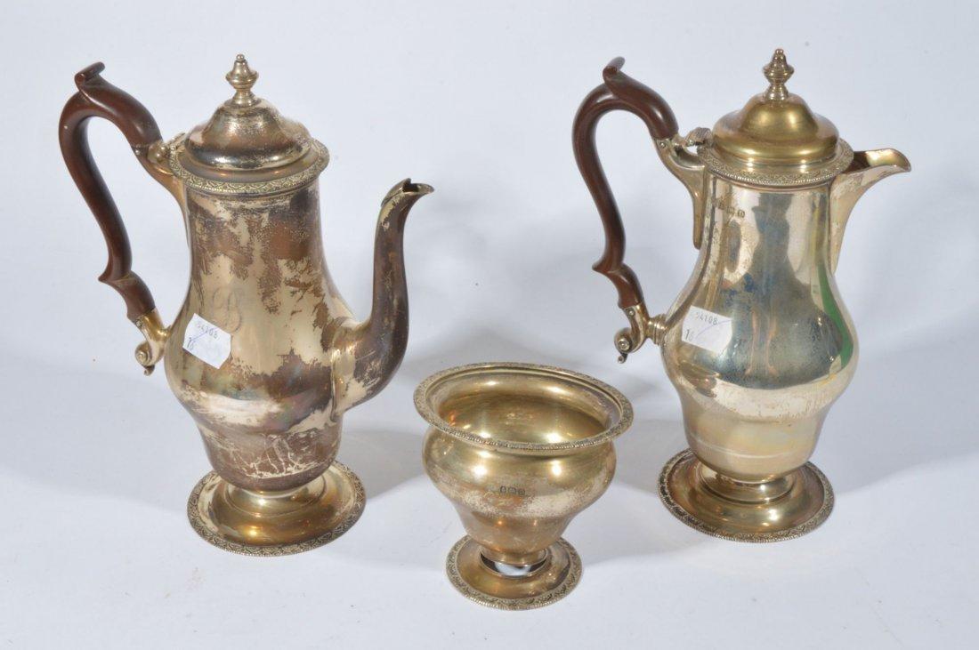 A silver baluster three piece coffee service by El