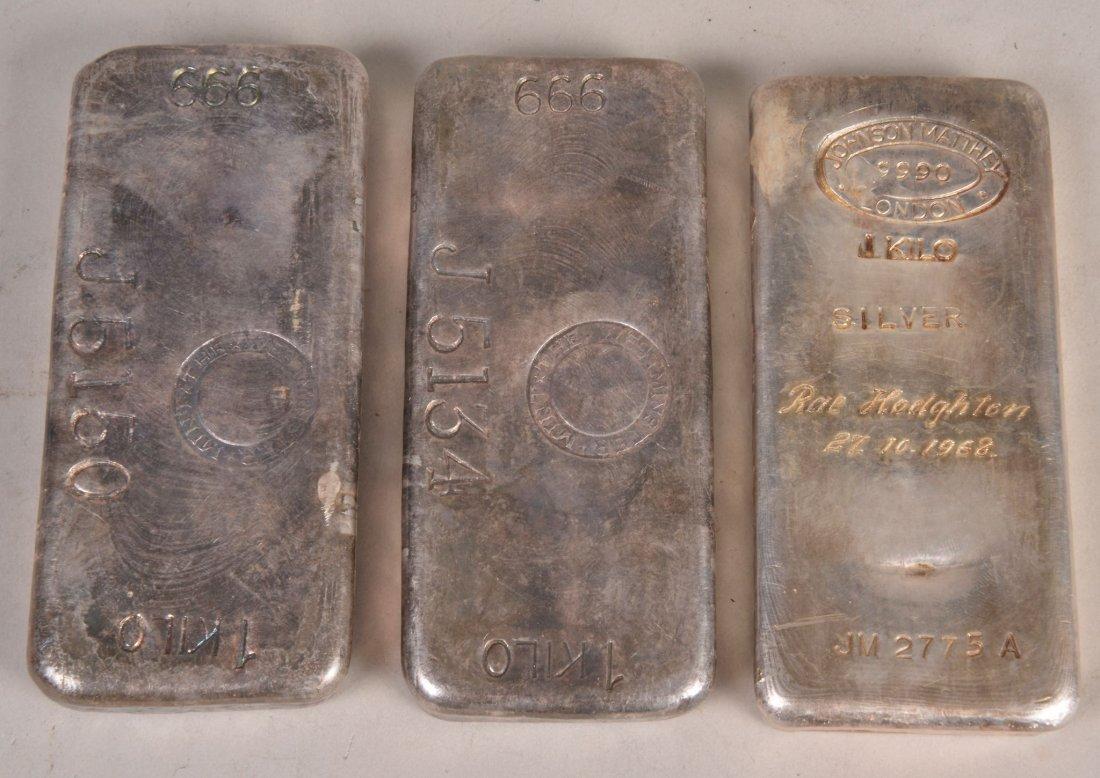 Three Westminster mint, 1kg each, .999 standard si