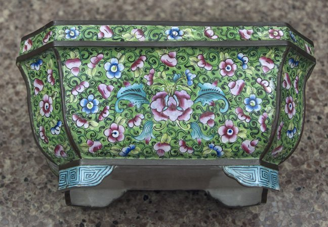 """French Champleve Vessel. 6"""" x 4"""" x 3""""(tall)."""
