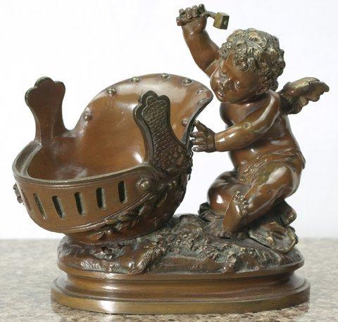 August Moreau, Bronze - Cherub hammering a helmet.