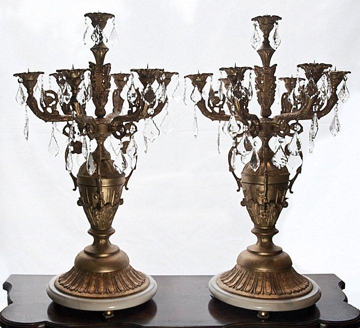 Pair, Monumental Gilt-Metal 7-light Candleabra