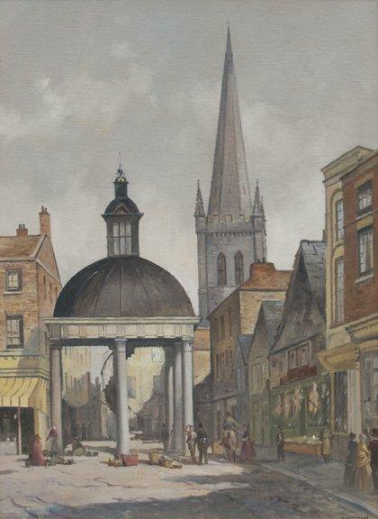 "Geoff Leathley, At The Market Cross. 20"" x 16""."