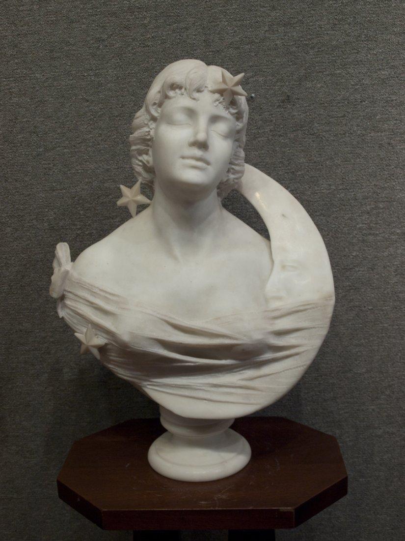"R. Battelli (Italian) Bust ""Lady w/Moon and Stars"""