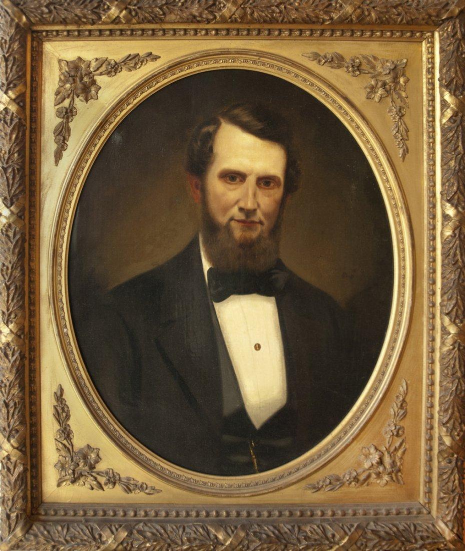 Portrait of Civil War Gentleman in American Antiq Frame