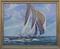 Harold Etter, Open Racing Cutter at Sea, Oil/Canvas