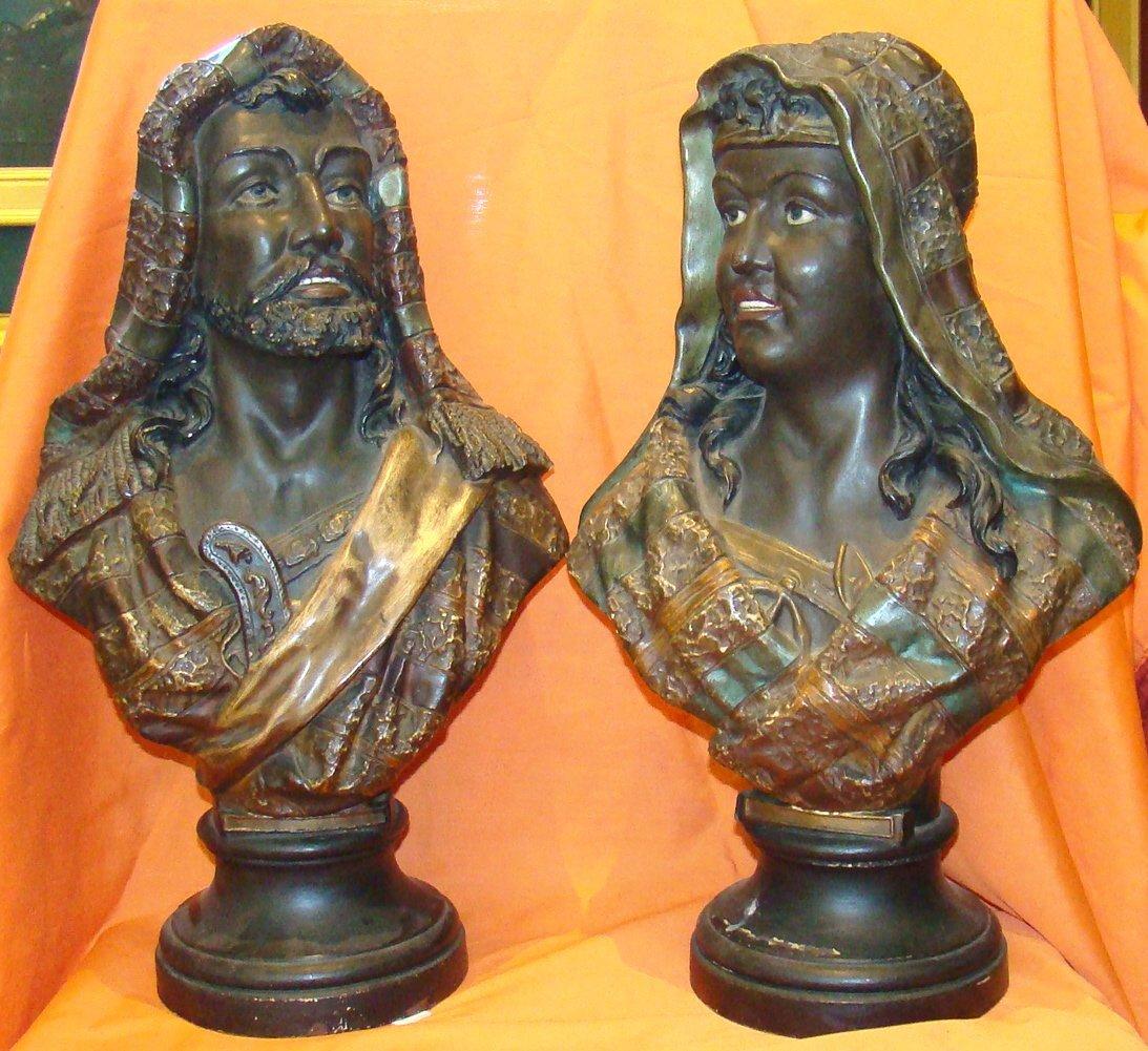 Pair of Terracotta Blakamoor Busts