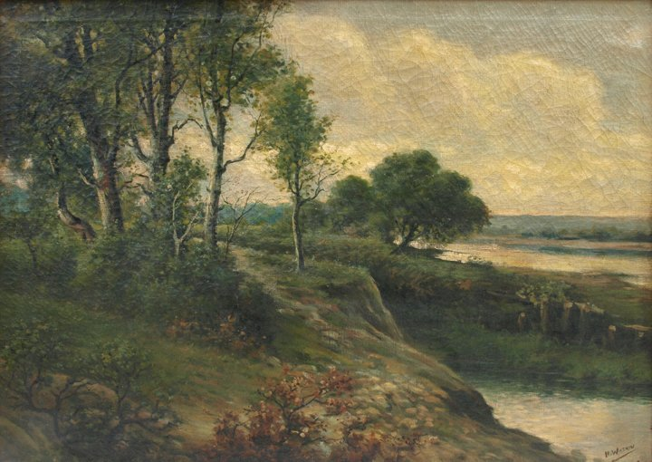 """H. Watkin, Landscape, Oil on Canvas, 34"""" x 48""""."""
