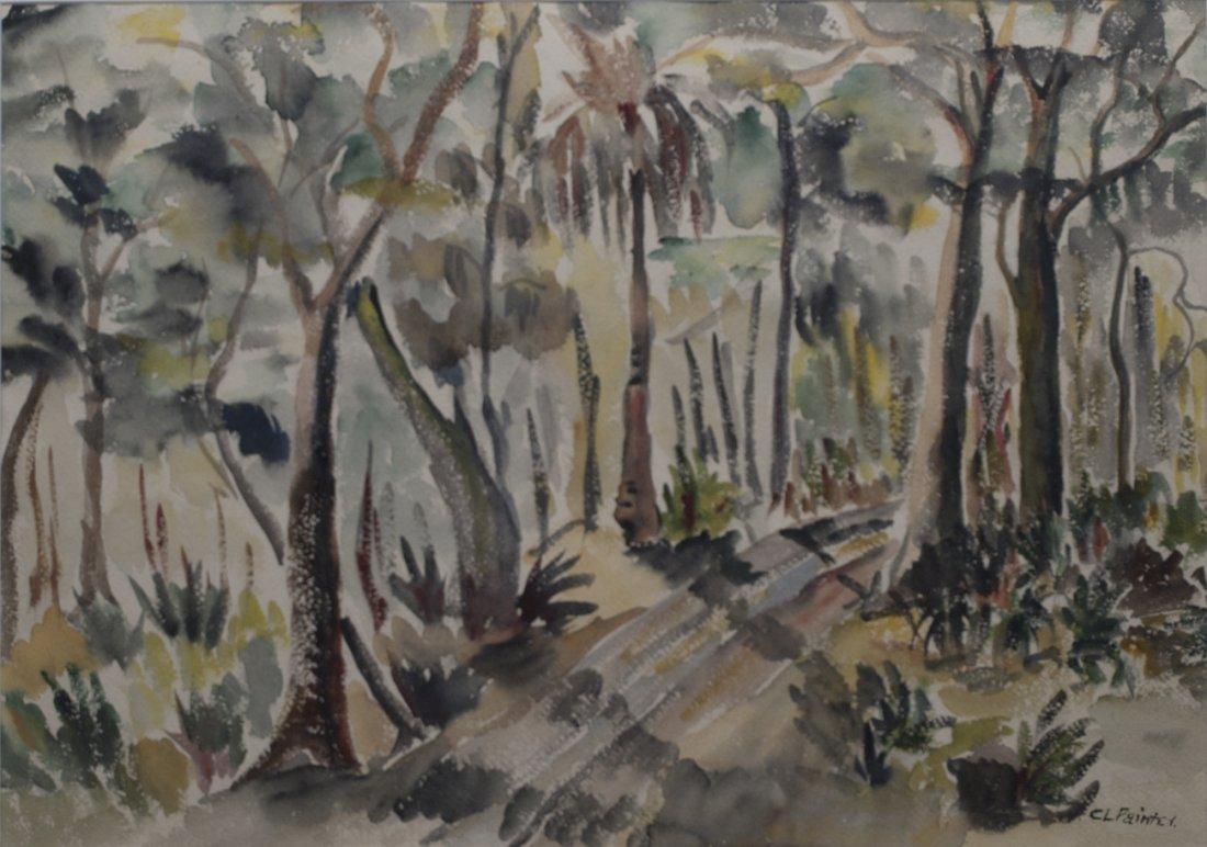 """C. L. Painter, watercolor """"Woodland"""", 14""""x20"""""""