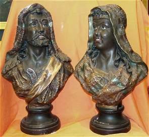 "WG & Co, Pair of Blackamoors, terracotta, 19"" tall"