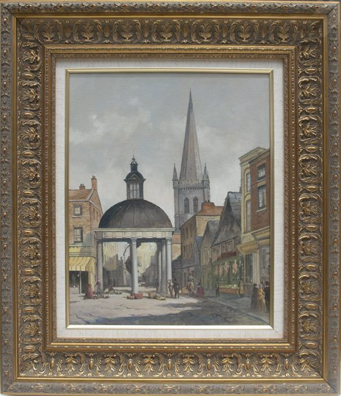 Geoff Leathley At The Market Cross. Oil on Canvas Board