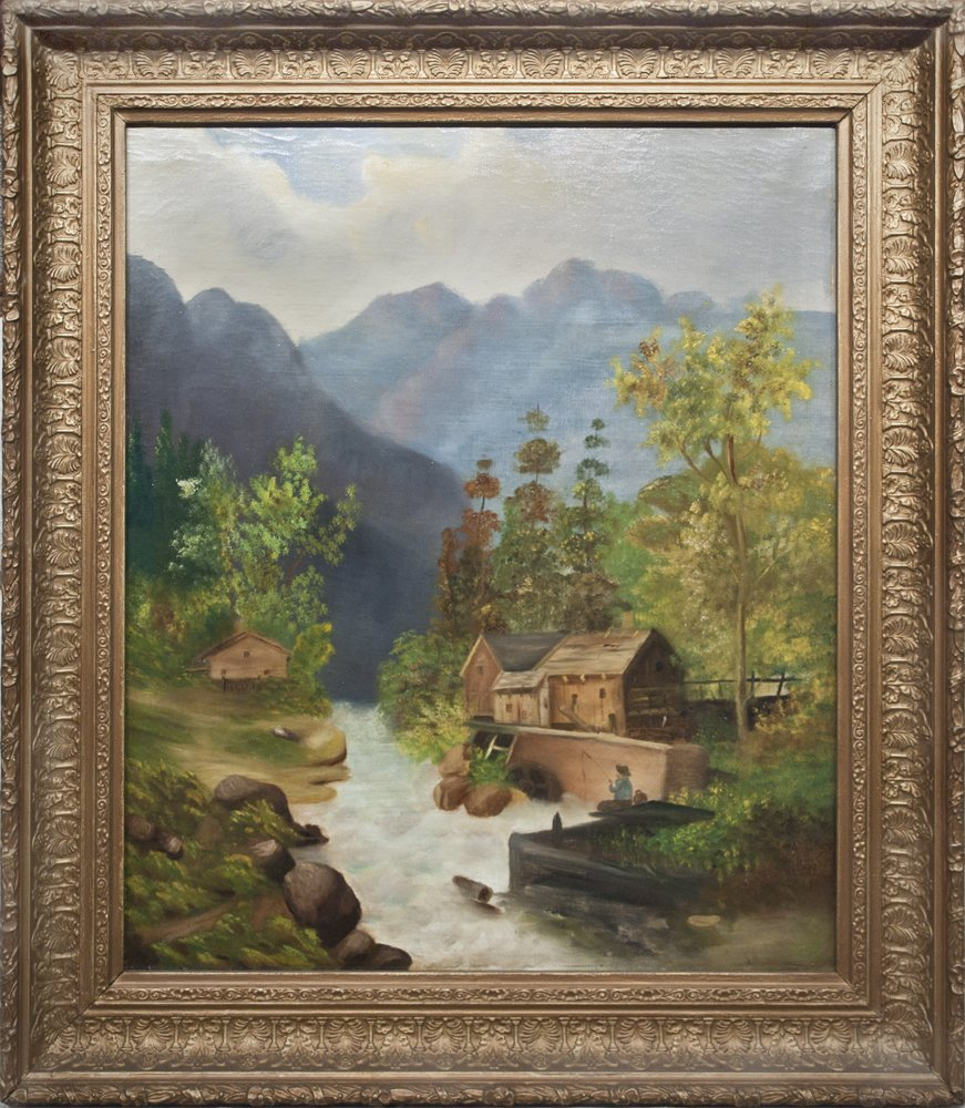 "Unsigned ""Mountain stream with Old Mill"", Oil on Canvas"