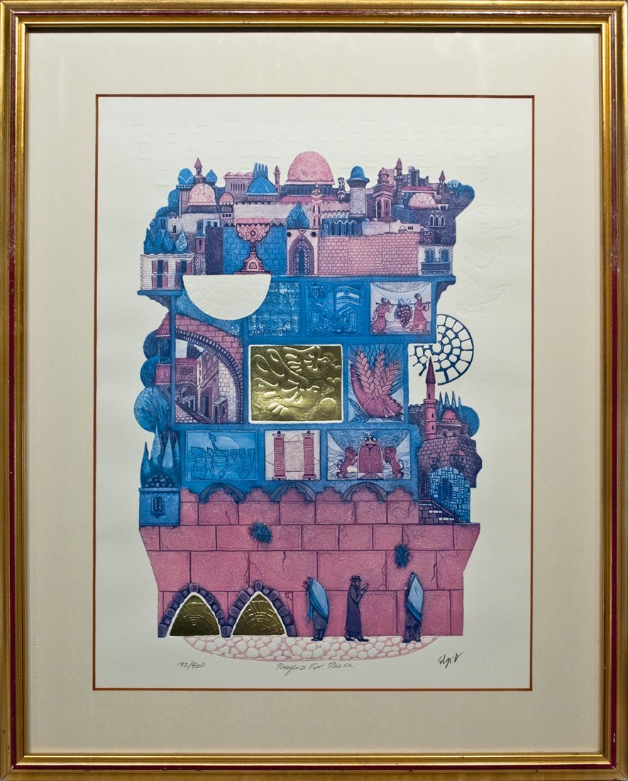 "Amram Ebgi, Original Lithograph, ""Prayers for Peace"""