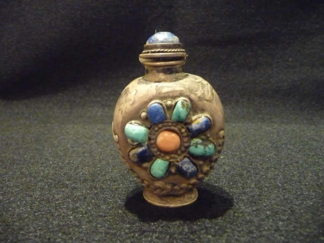 Silver Snuff Bottle With Lapis, Turquoise, and Coral