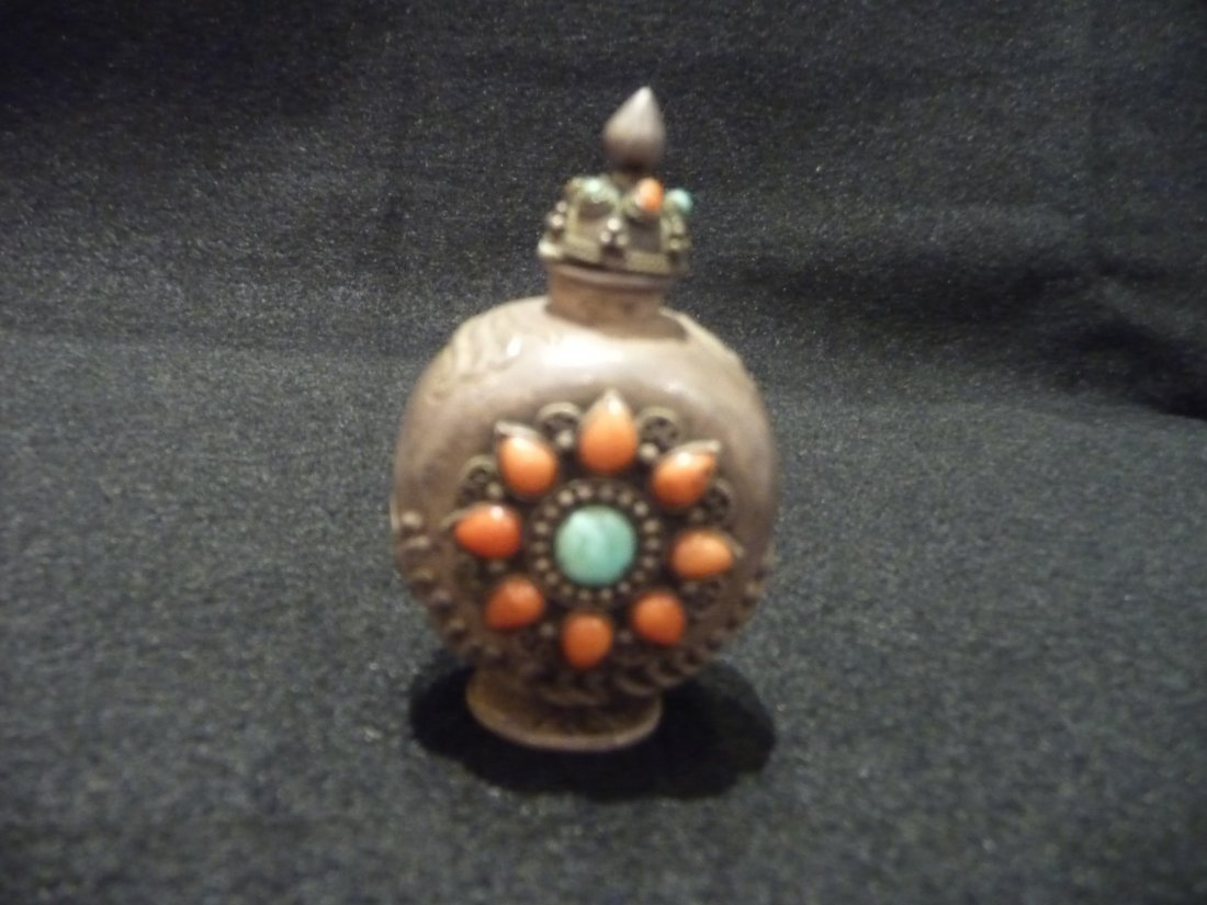 Silver Snuff Bottle With Turquoise and Coral