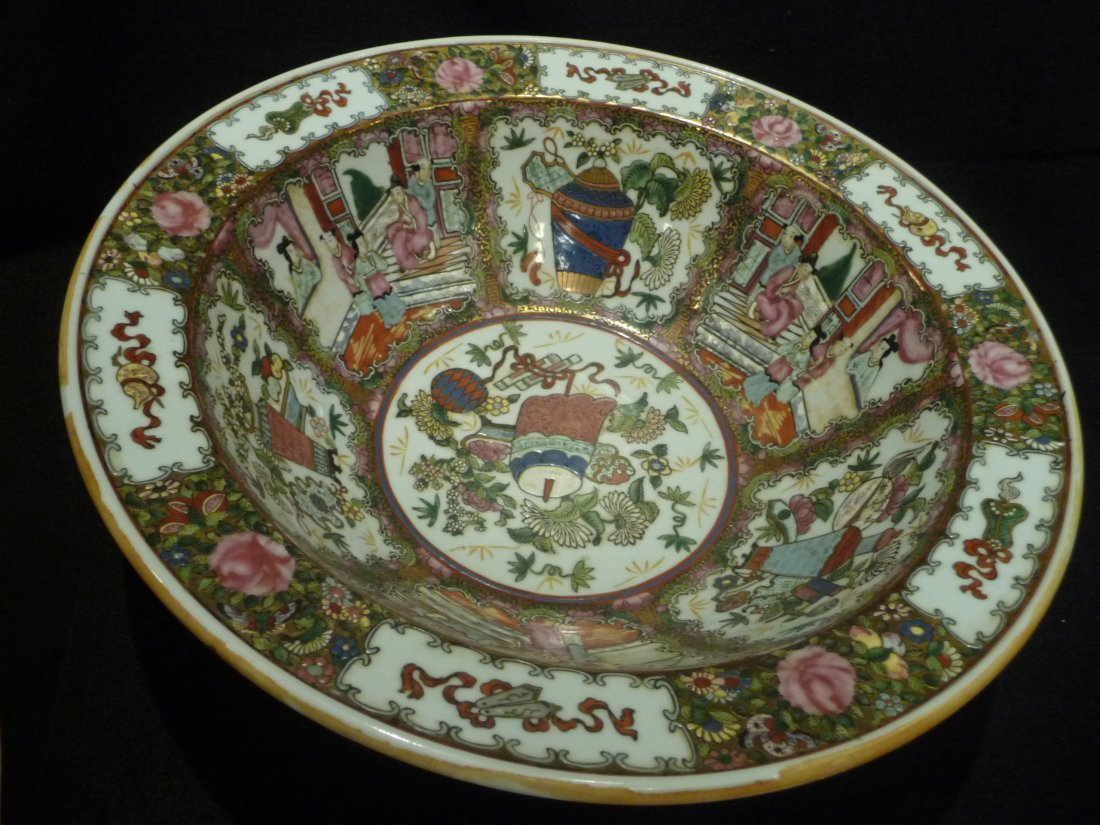 19th Century Rose Medallion Punch Bowl