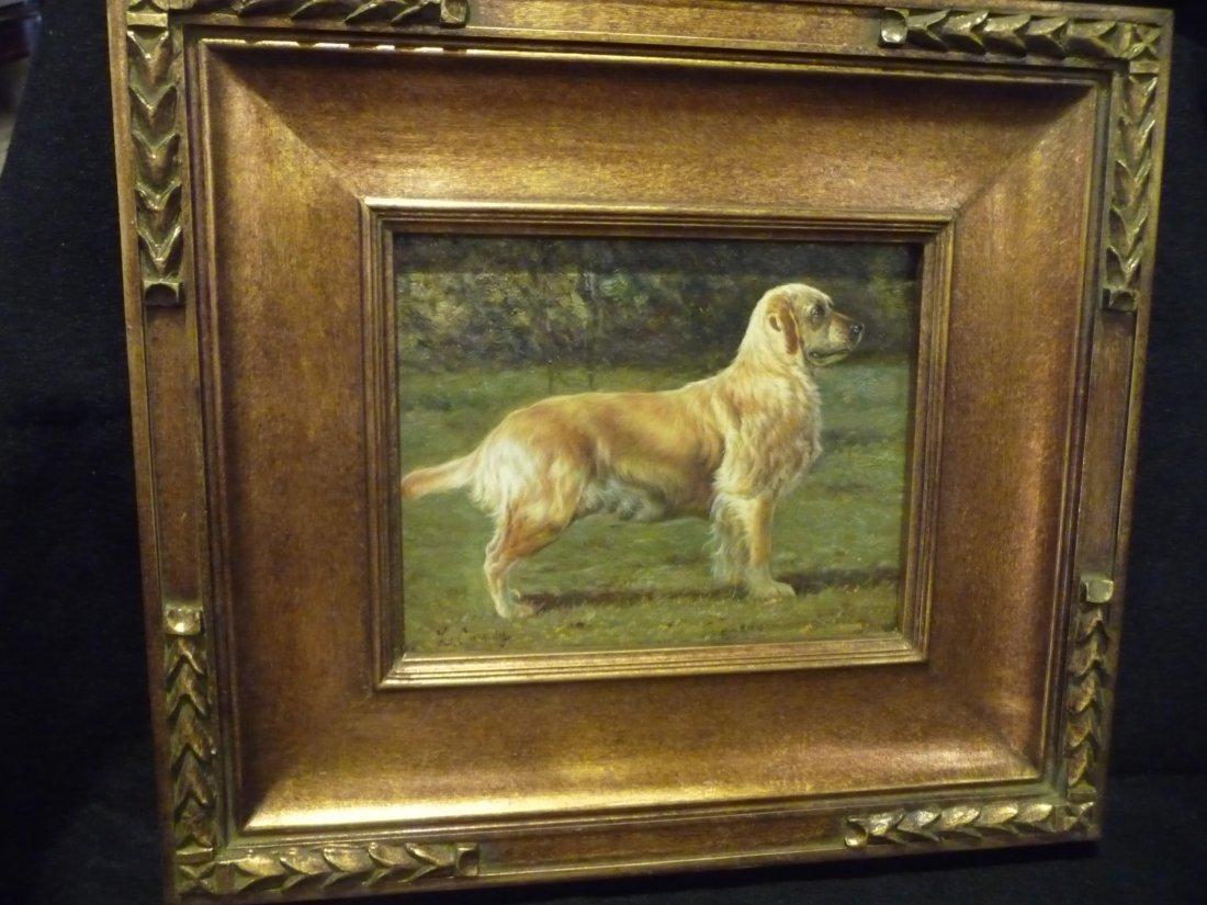 "Laura E. Cassidy,""Golden Retriever"", Oil Painting"