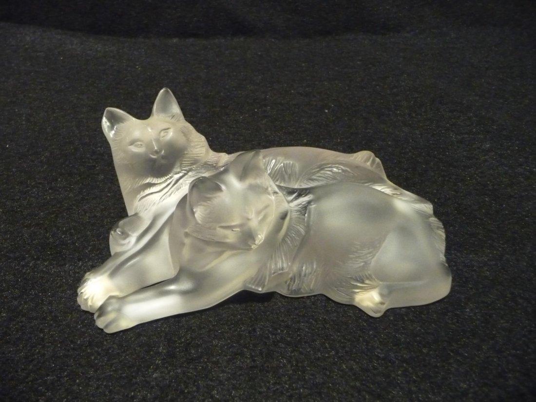 """Lalique Crystal Cats """"Happy & Huggy"""""""
