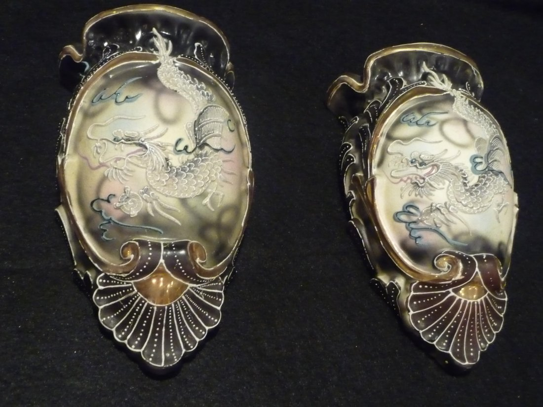 Pair Porcelain Wall Pocket Sconces with Japanese Dragon