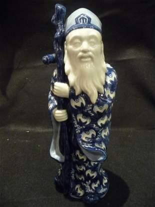 1900 Blue Porcelain Figure of Wiseman with Bat Pattern