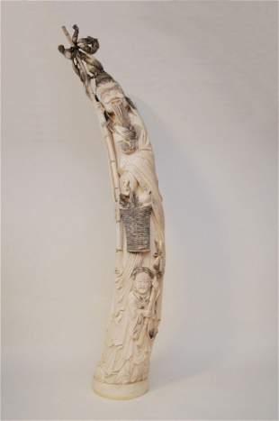 Large Carved Ivory Tusk Fisherman