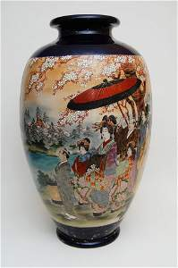 Hand Painted and Enameled Japanese Vase
