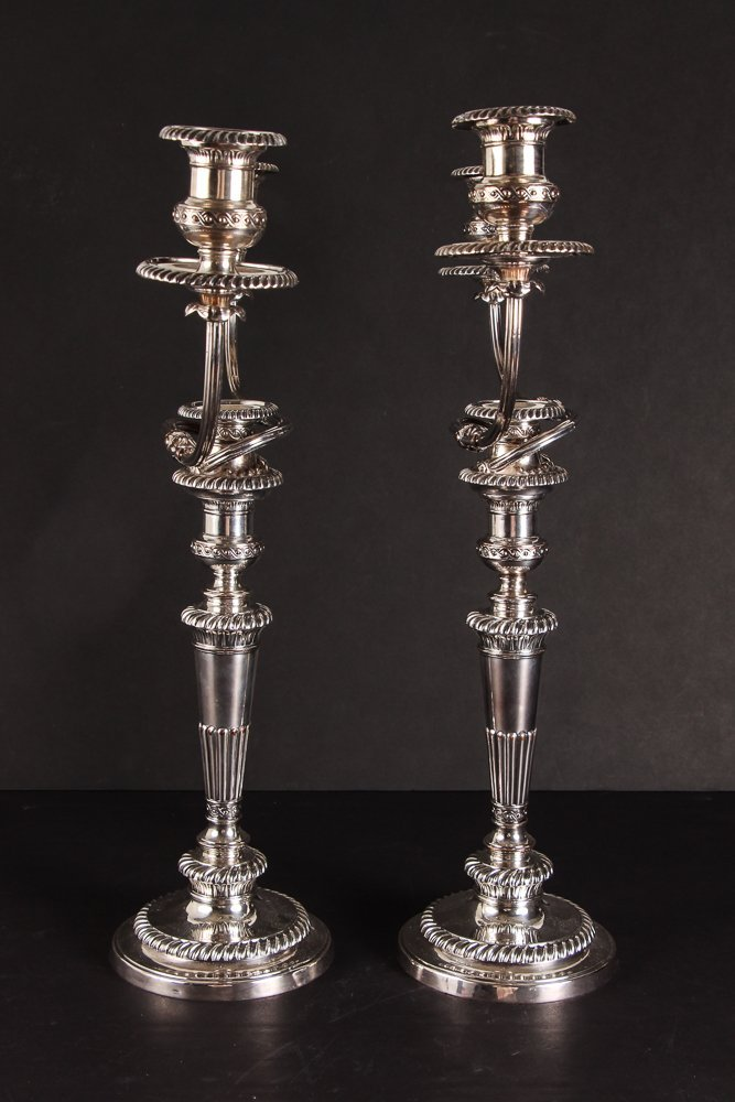 Pair of Sheffield Plate Candelabra - 2