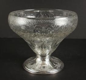 Gorham Sterling Silver Etched Glass Bowl