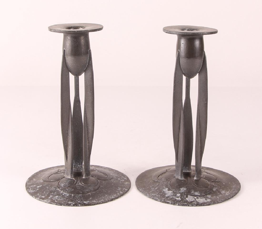 Knox Tudric Pewter Arts And Crafts Candlesticks