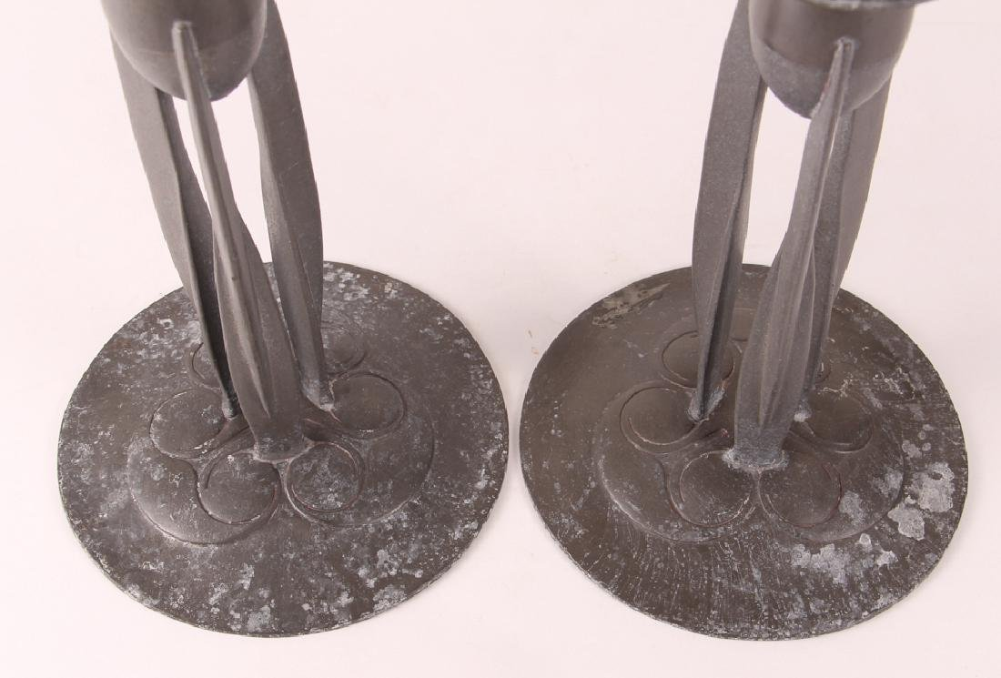 Knox Tudric Pewter Arts And Crafts Candlesticks - 2