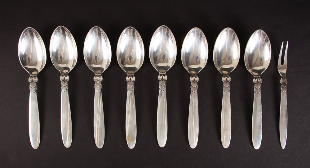 Nine Georg Jensen Cactus Pattern Flatware Pieces