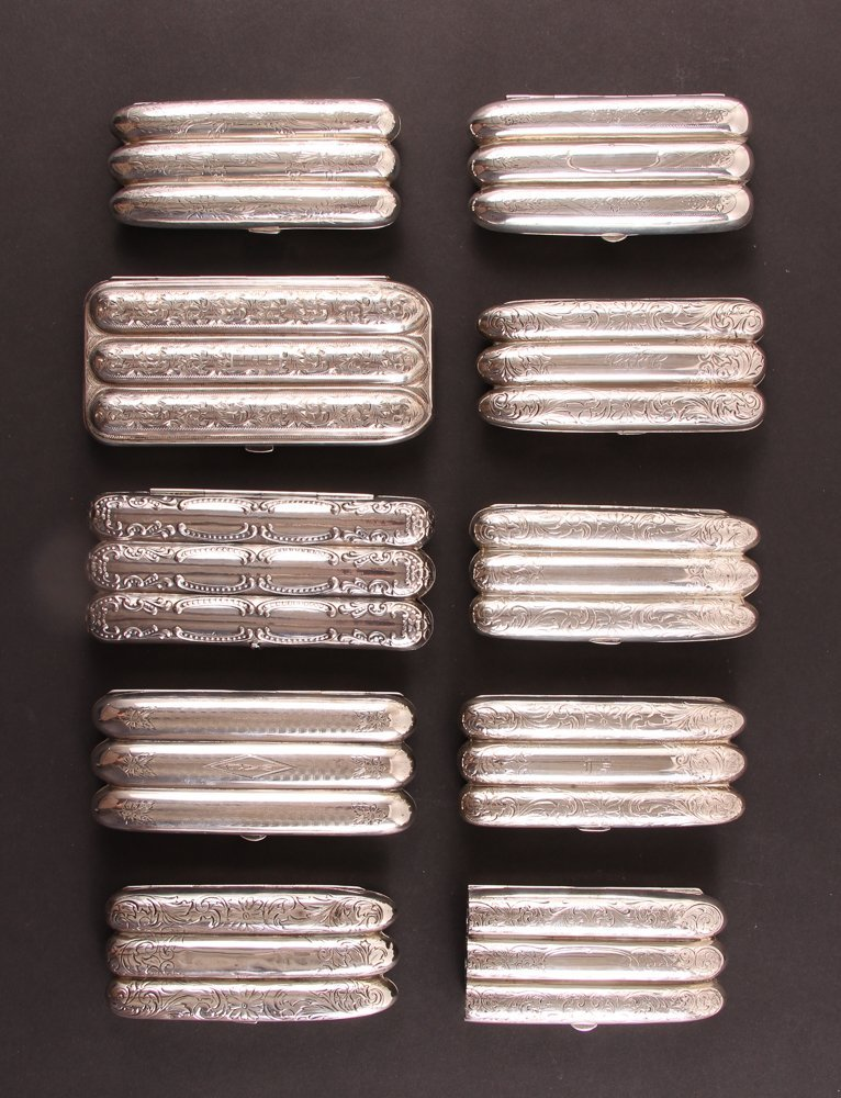 Ten Sterling Silver Cigar Cases