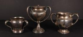 Three Sterling Silver Handled Golf Trophies